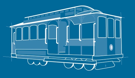 A blueprint of a streetcar