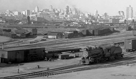 An old photo of a trainyard