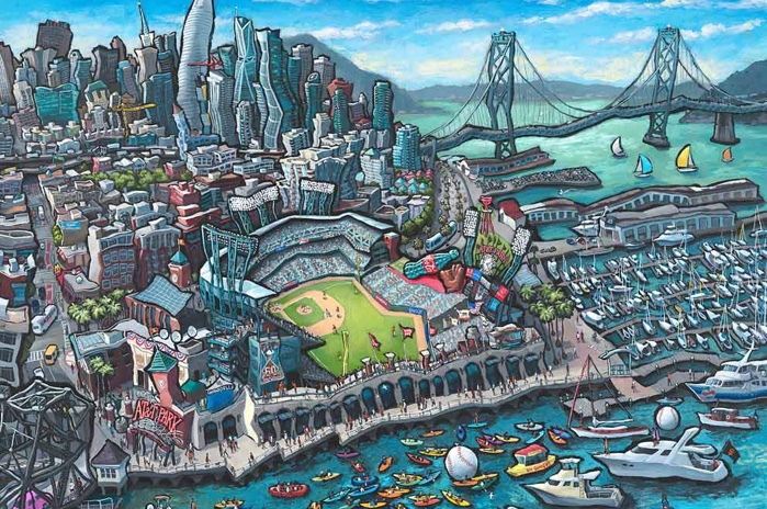 A psychedelic painting of San Francisco
