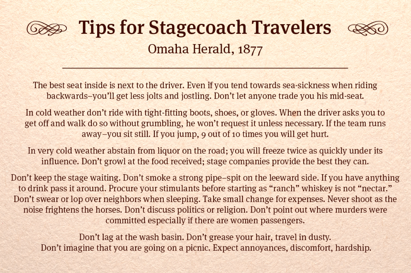 Tips for Stagecoach Travelers